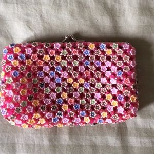 Handbags - Pink floral beaded small clutch, NEW